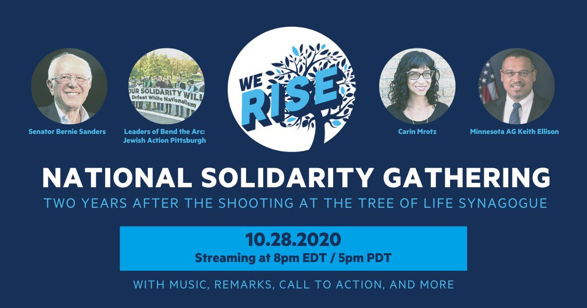 Join me, @jewishaction, @SenSanders, @mrotzie, and others for a virtual National Solidarity Gathering tomorrow evening at 7:00 p.m. RSVP here: bendthearc.us/1028