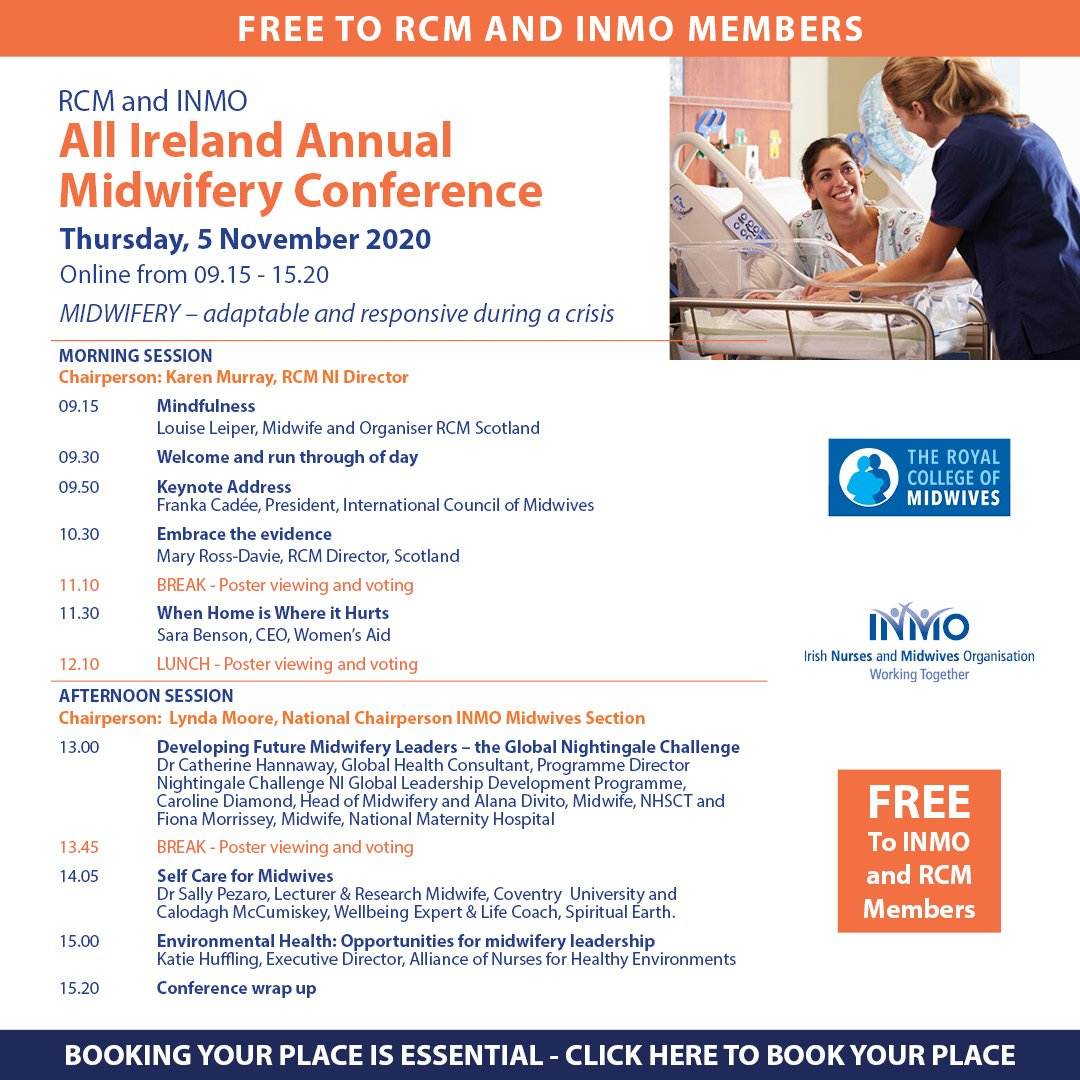 """Midwifery- adaptable and responsive during a crisis"" conference program includes CEO @Womens_Aid Sarah Benson. @MaryRossDavie @SallyPezaro and more. #midwivesmakeadifference #yearofthenurseandmidwife2020 https://t.co/hWg7WrGK2p https://t.co/bmhsuLI8Z5"