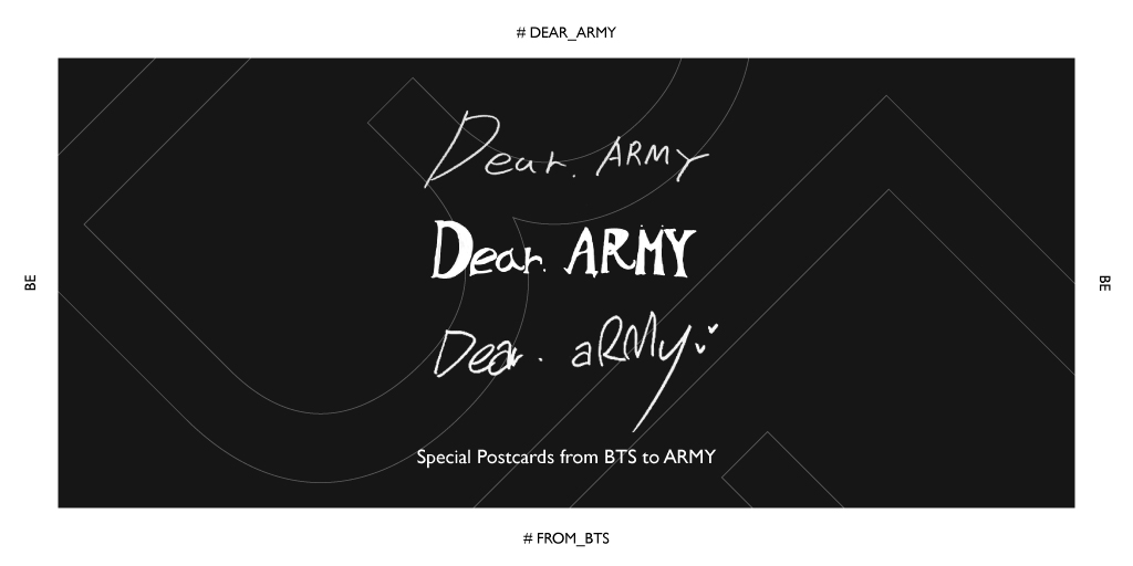 Dear. ARMY   The weather's gotten a lot chilly. I'm writing this because I wanted to know what ARMY's thinking and what you've been up to lately. Promise to write me back?  📮 https://t.co/C4fW7l7u3R  Sincerely, BTS (방탄소년단)  #Dear_ARMY #From_V #From_Jimin #From_RM #BTS_BE https://t.co/HAAy53FYip