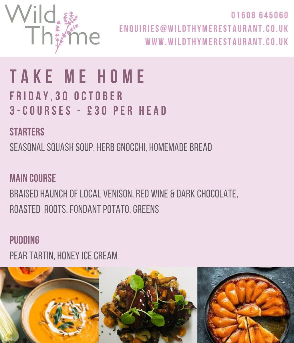#two chances to eat @wtrestaurant food this #weekend #friday, 30 #octobe #eatin #eatout #diningclub #takemehome #seasonal ingredients #done the @wtrestaurant way email enquiries@wildthymerestaurant.co.uk to book #fridaynightdinner #takeaway #supperclub #chippingnorton #lovefood https://t.co/Xtmw5zKPuN