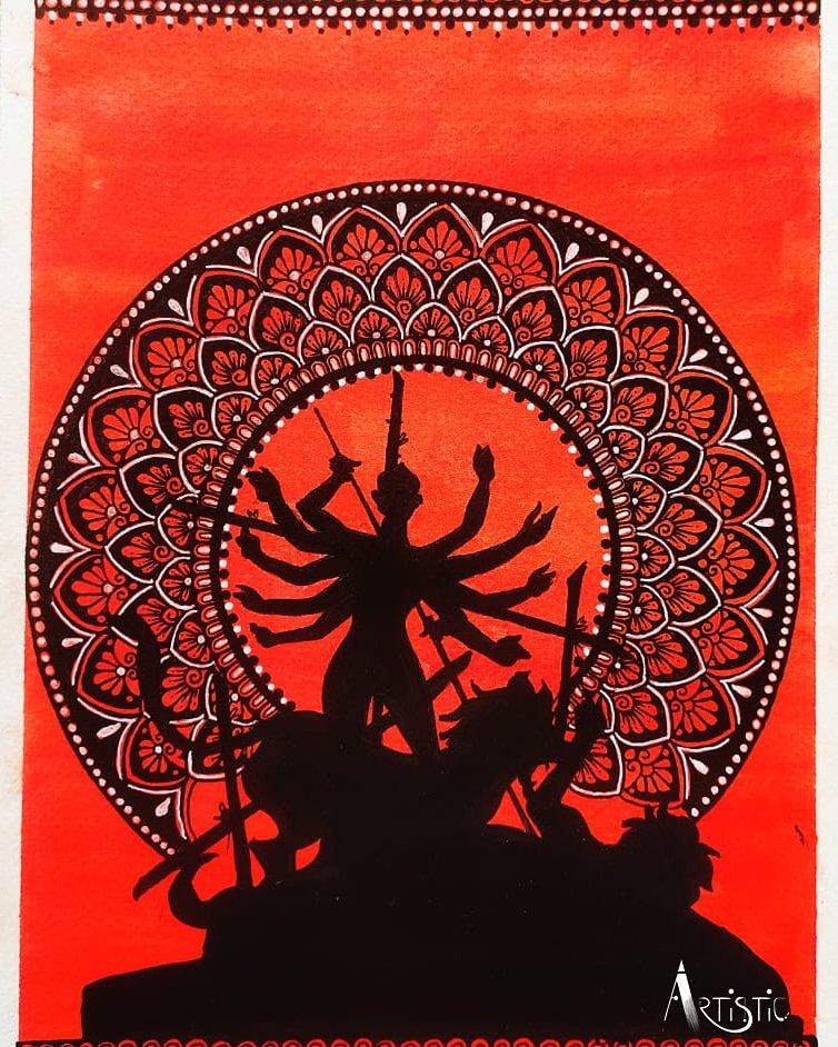 An amazing painting by Asmita Mondal Medium: Watercolours and Mandala on Paper #URARTISTIC #art #artist #artlife  #artwork #artistic #artofdrawing #artsy #artworks #creativity  #watercolours #watercolorart #watercolouring #mandala #mandalaart #mandalaartist  #maadurga #festival https://t.co/BnCxp7K6kf