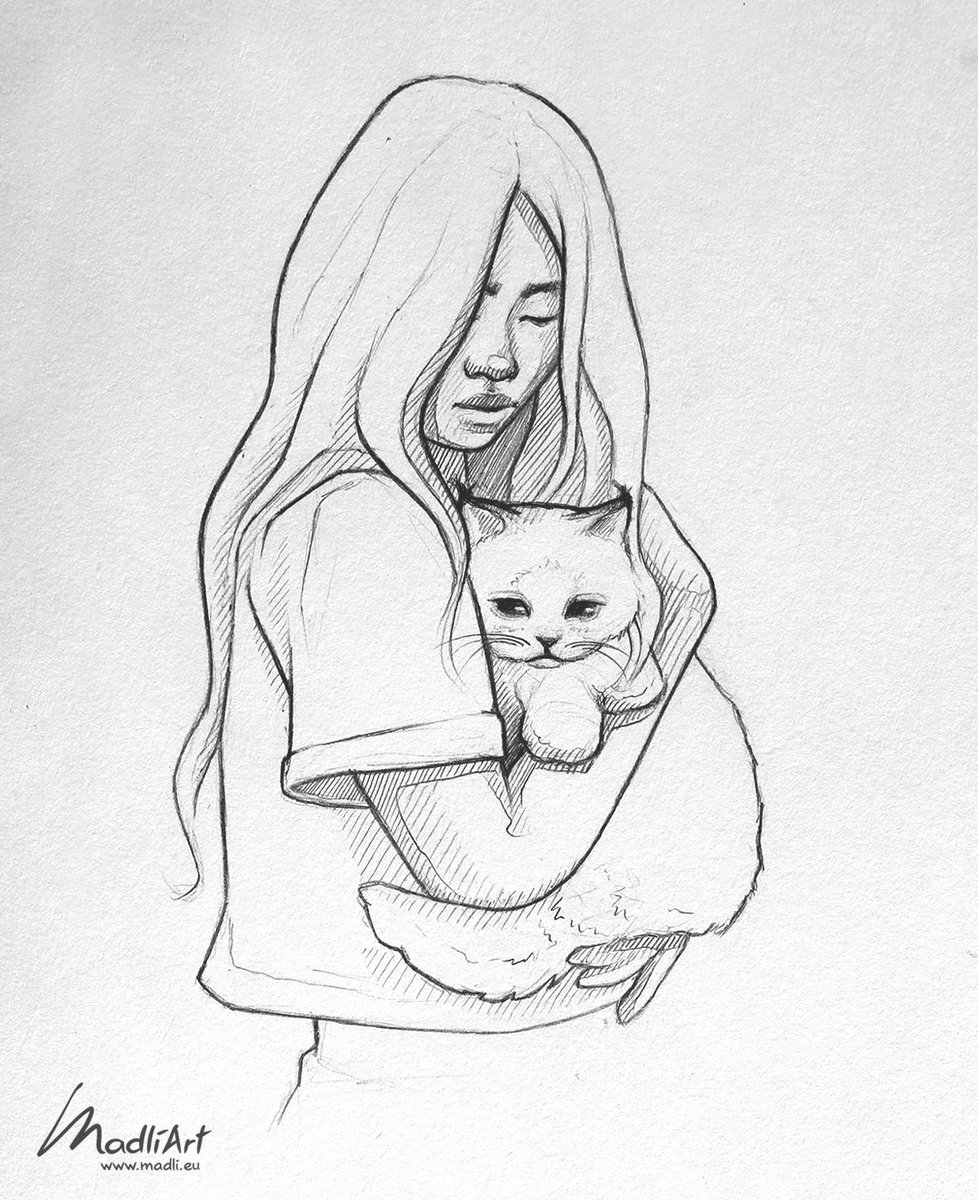 Girl and cat by @marilartgallery #Caturday https://t.co/RsnrPiat6F