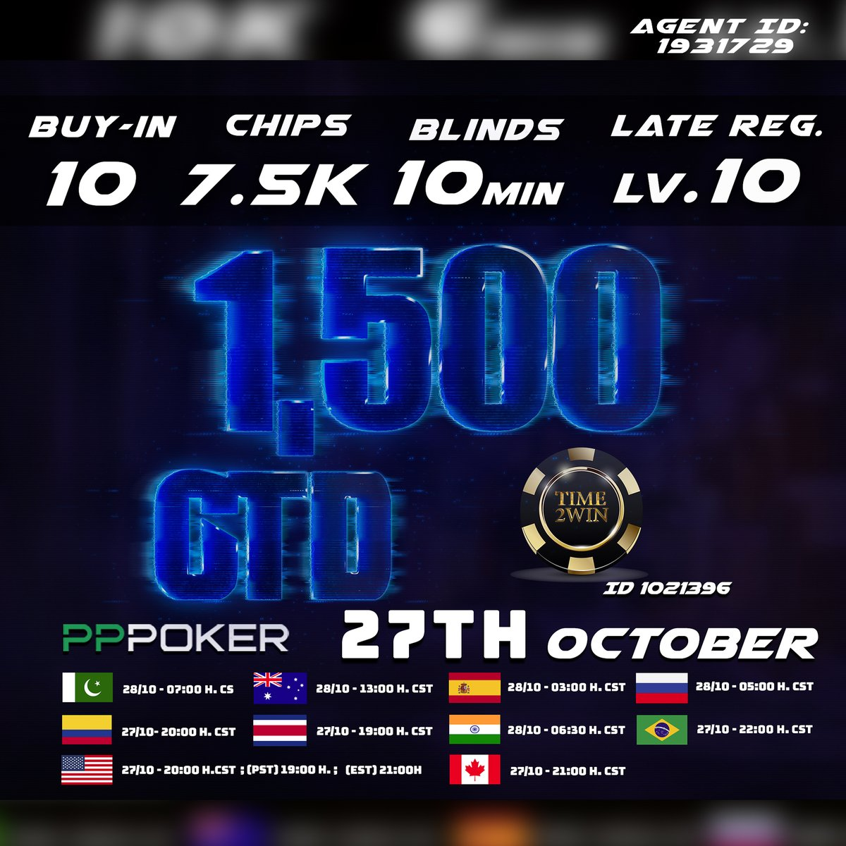 ♠♥♣♦https://t.co/1Ro9IrNBJD♠♥♣♦ 👉🏻Time2win (ID 1021396) 👉🏻Agent ID 1931729  👉🏻RAKEBACK 30% 💸➕¡BONO DE DEPOSITO HASTA 15%!   📢1,500 USD GTD 🔥 Buy-in:10💸 Start.Chips: 7.500 Late reg. up to level 10  #pppoker #easypppoker #pokerface  #pokeronline #poker #Pokerchips https://t.co/wRgu6Sy5T8