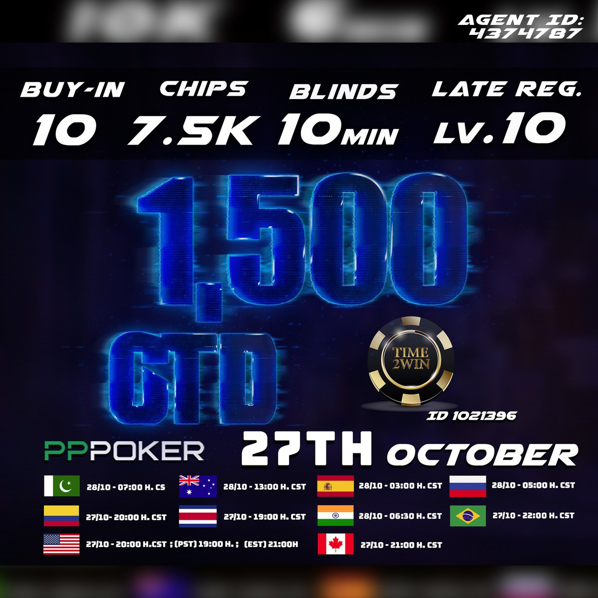 ♠♥♣♦https://t.co/4B2vbEvKrw♠♥♣♦ 👉🏻Time2win (ID 1021396) 👉🏻RAKEBACK 30% 💸➕¡BONO DE DEPOSITO HASTA 15%! 👉🏻Agent ID 4374787  📢1,500 USD GTD 🔥 Buy-in:10💸 Start.Chips: 7.500 Late reg. up to level 10  #pppoker #easypppoker #pokerface  #pokeronline #poker #Pokerchips https://t.co/qsiLlIZQjJ