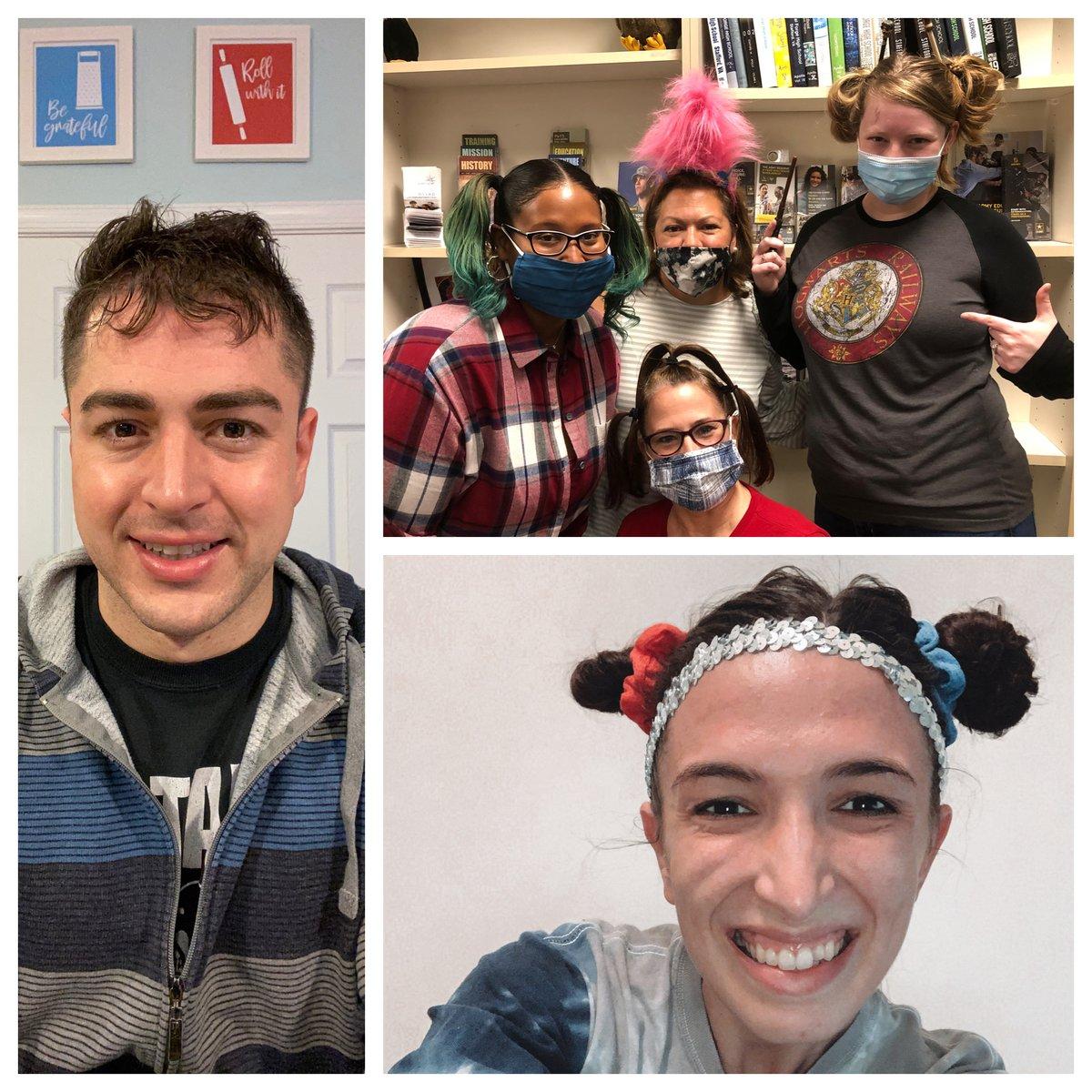 CFHS Crazy Hair Counselors celebrating Spirit Week~ @CForgeEagles @ForgeAthletics @greenwall2021  #weirdhairdontcare https://t.co/QFS13sJeb0
