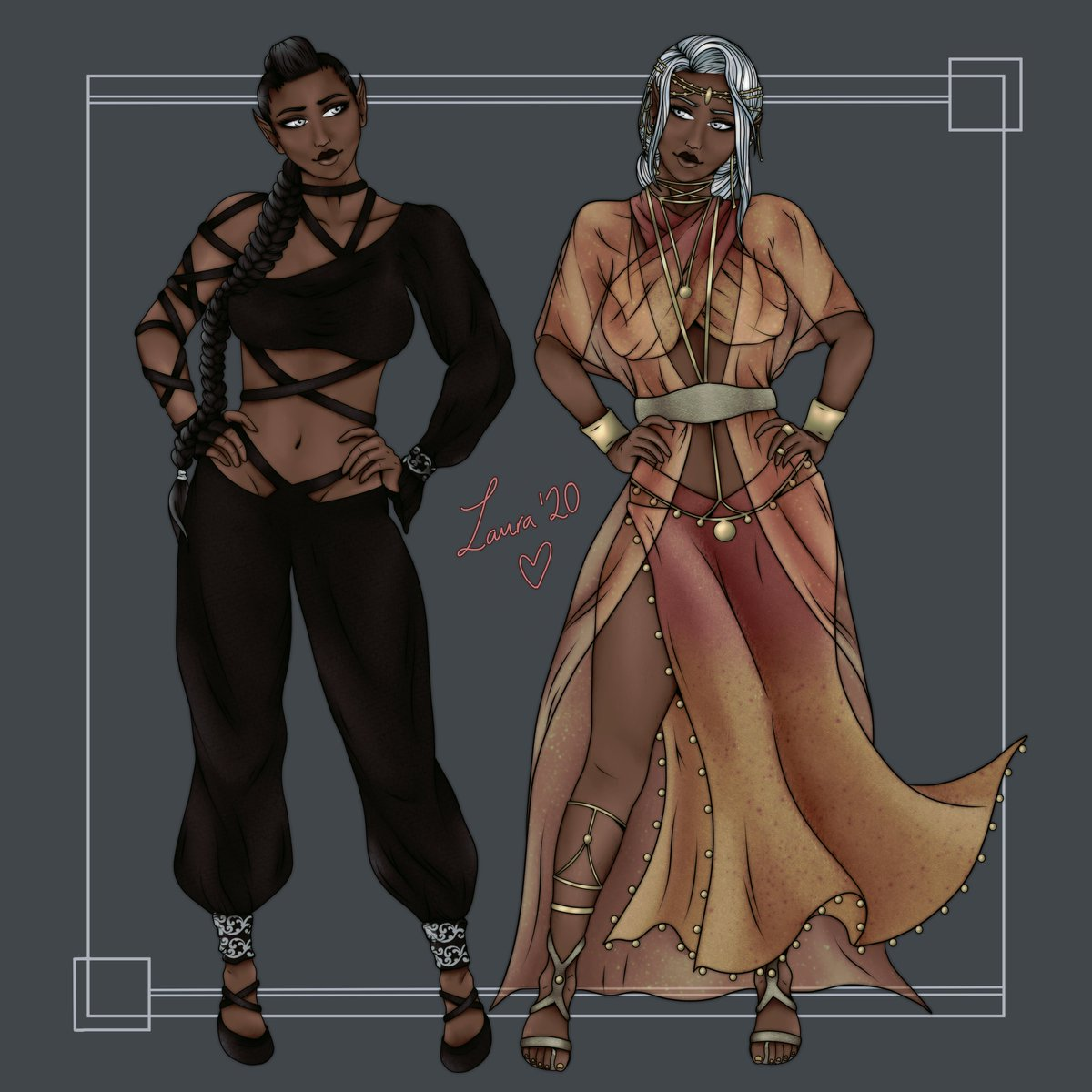 Finished up Aria's alternative looks. The left is a disguise for an upcoming undercover mission, and the right is her usual look  #ttrpg #savageworlds https://t.co/7xd0esZ7hY