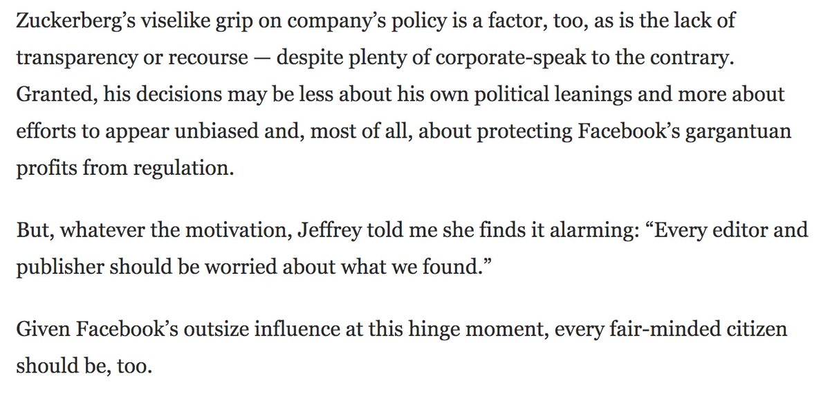 Excellent @Sulliview piece on how Facebook manipulates the news you see for political reasons, featuring the great @ClaraJeffery and @emilybell. Powerful conclusion, too. https://t.co/ObQABx3GIS. (Our earlier reporting here: https://t.co/qNKFjNG3e2) https://t.co/dnZKaQCLMR