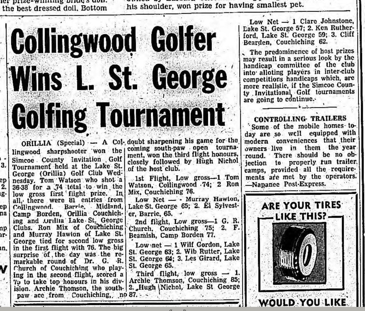 An article from the Barrie Examiner about the Simcoe County Invitational Golf Tournament held here.   August 16th, 1957! https://t.co/M5sjZhDy2O