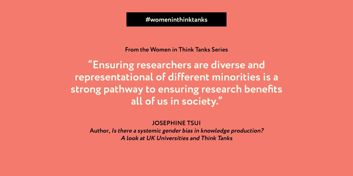 Read @Josephinetsui on #genderbias in knowledge production, looking at UK #thinktanks and universities https://t.co/kGzSO3UM4m   #womeninthinktanks #research https://t.co/LVs20aMluD