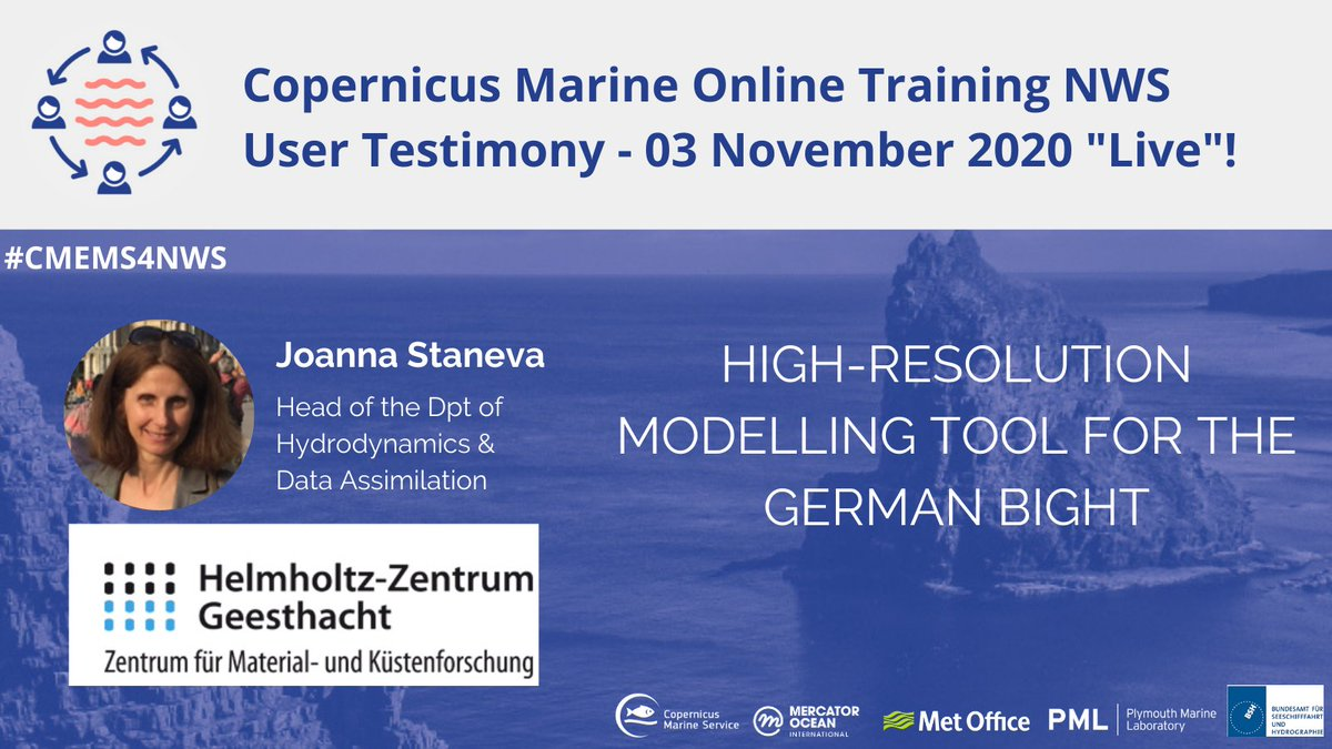 "Want to learn how to use @CopernicusEU #marine #data❓ Register for FREE to the Copernicus Marine training workshop for North West Shelf seas🌊 & watch live the presentation of J. STANEVA: ""High-resolution modelling tool for the german bight"" 👉https://t.co/FhskjNr0bB #CMEMS4NWS https://t.co/p2BvcOSFoB"