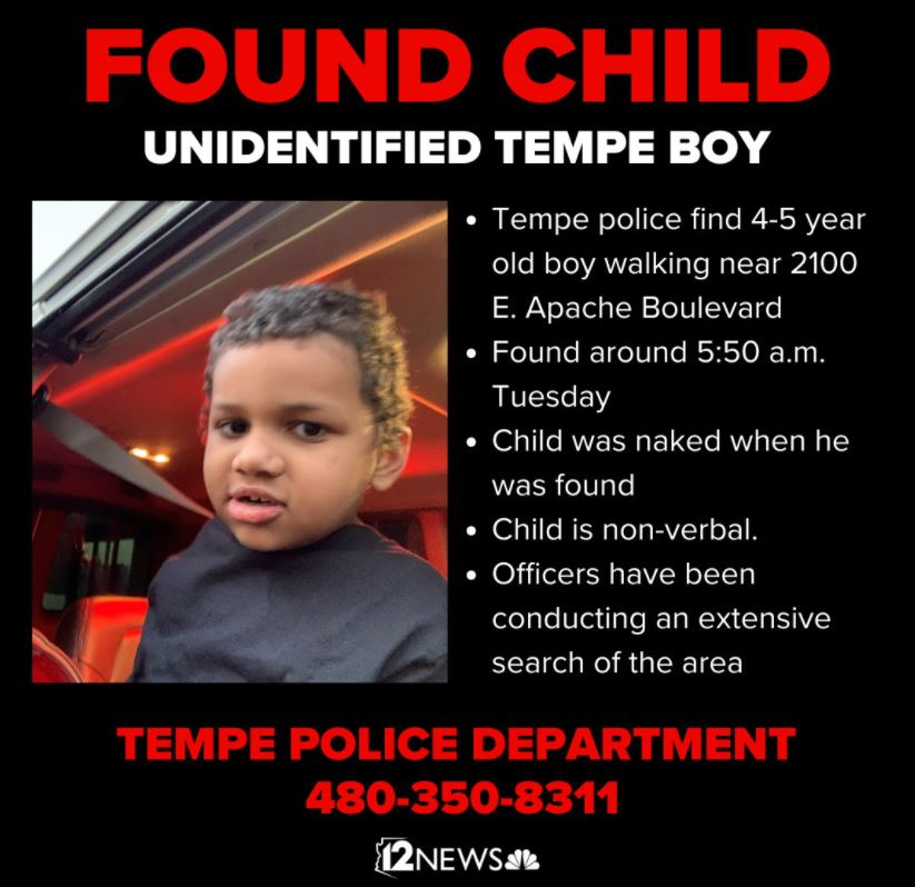 Tempe Police say this boy was reunited with his mother. #TodayInAZ
