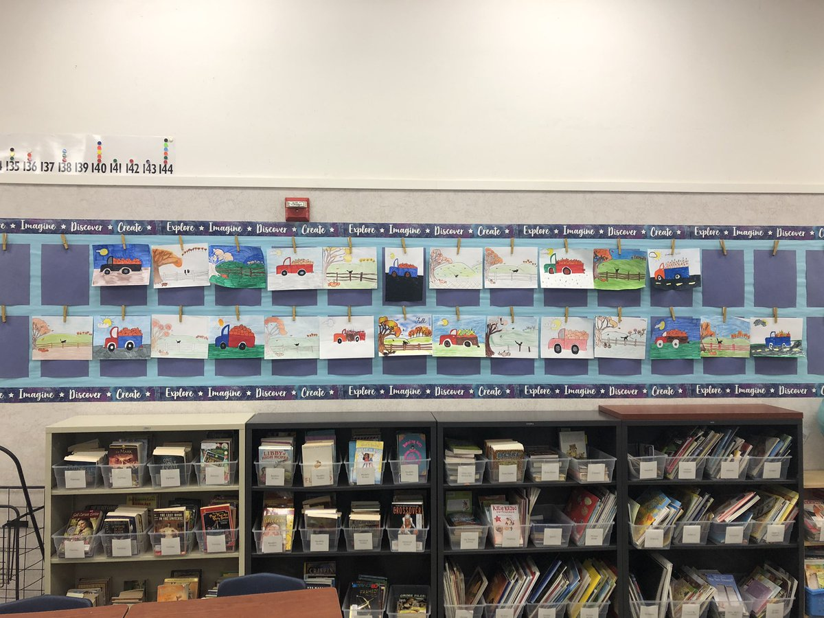 Love seeing my students' work up on the walls again! I had them turn in a couple of projects to me at our last supply pickup and put them up in an attempt to make it feel a little less lonely in here. It worked! @SRVUSD1 #remotelearning #distancelearning #fifthgrade https://t.co/twE5sE9FTV