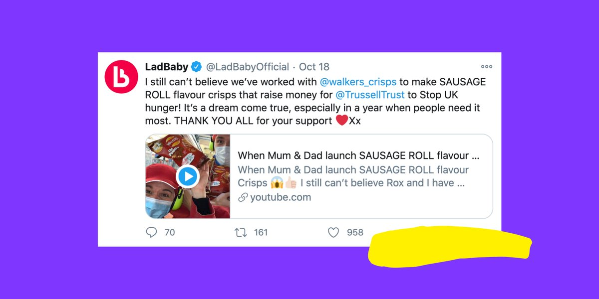 In case you missed it: @LadBabyOfficial has joined forces with @walkers_crisps to create sausage roll flavoured crisps! AND the best part is that 5p of each packet goes straight to the wonderful work the @TrussellTrust does to end UK poverty 👏