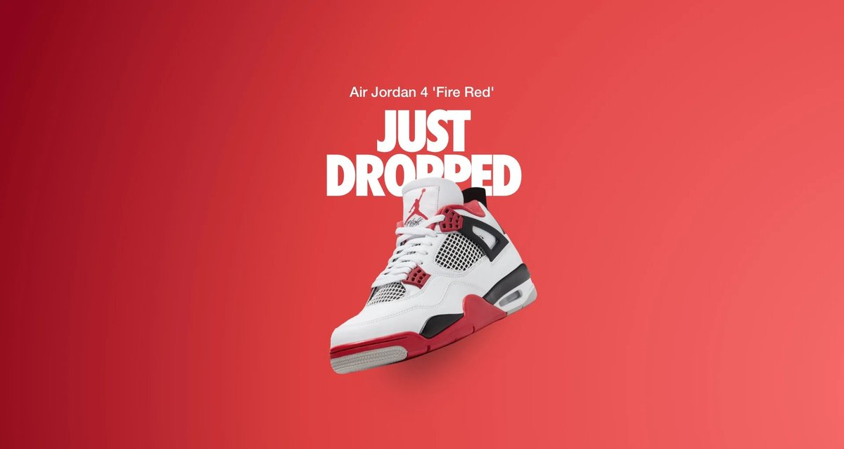 SHOCK DROP on #Nike US. Air Jordan 4 Retro OG Fire Red. —> https://t.co/ItOU7FZUDd  #ad https://t.co/I0sMgYUy9y