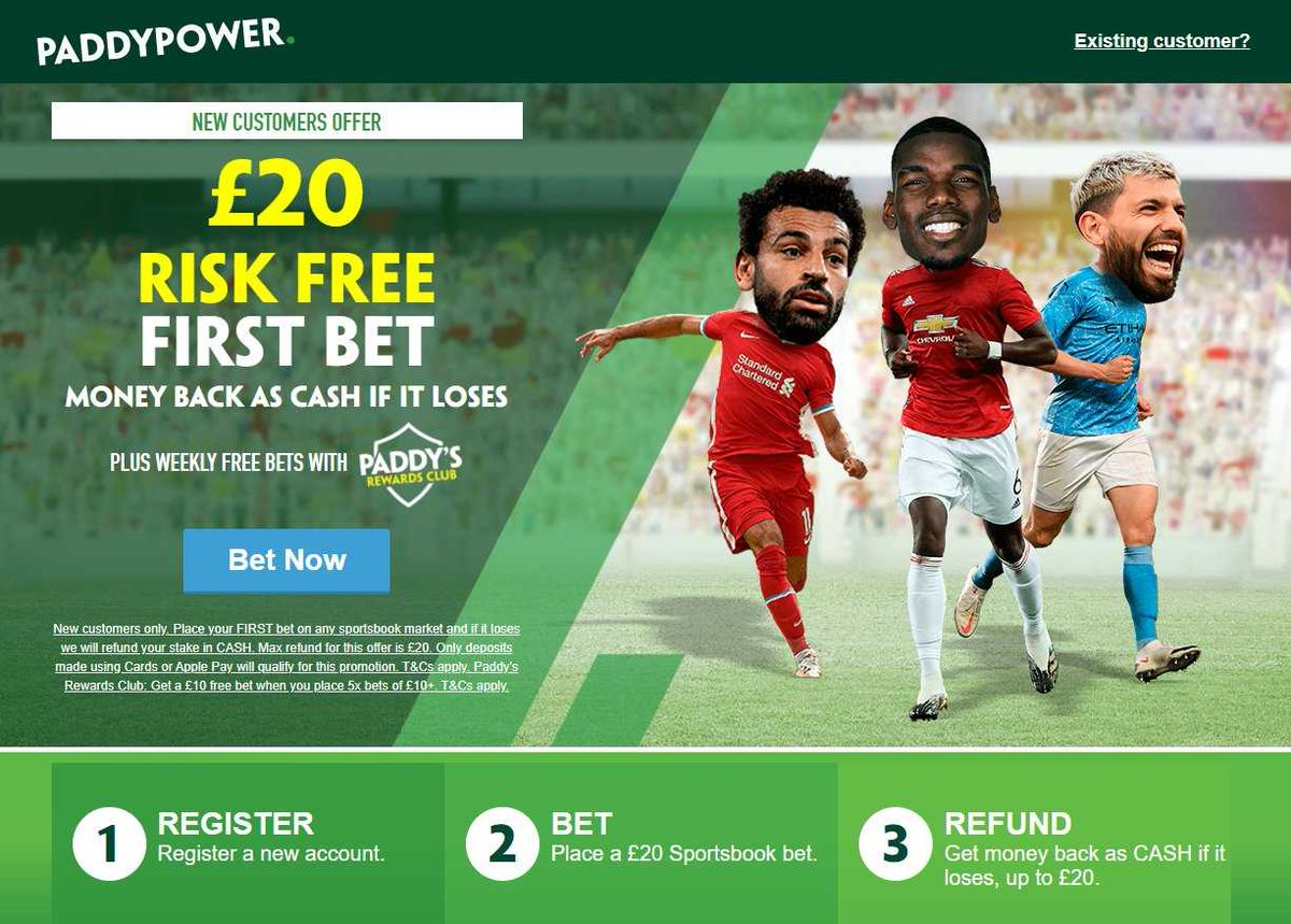 Paddy Power, most distinctive consumer brands in Europe  ▫️New Customers Only #ad Place your FIRST bet on any Sportsbook market & if it loses Get a refund in CASH. Max £20  ▫️£20 Risk-FREE Bet Paid Back In Cash https://t.co/D6EkIBp8VX  18+ | BeGambleAware.org | T&C's Apply.2 https://t.co/0jWfIEzzfs