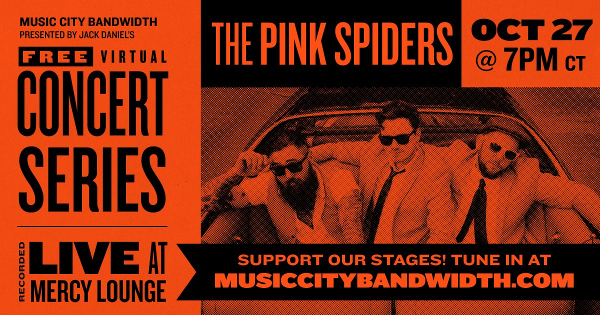 Join us for a rockin Tuesday with @thePinkSpiders🌟Tune in at 7pm CT to see the show live from @mercylounge 👉 musiccitybandwidth.com - #keepthemusicplaying #saveourstages #keepindielive615 #nashville #keep615live #musiccity #musiccityusa #nashvilletn