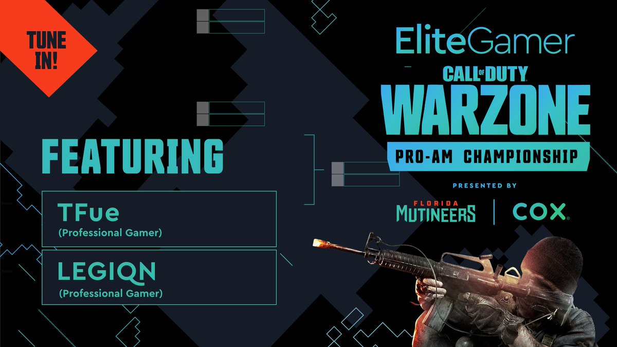 The #EliteGamer Warzone Pro-Am Championship lineup is kinda stacked😳 Which duo is leaving Verdansk with $25,000? Could it be team @TTfue or team @LEGIQN? Tune in at 5:00PM EDT » twitch.tv/flmutineers