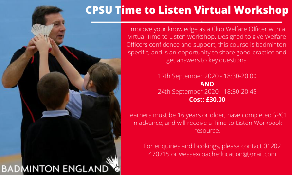 Final call! 📣 Are you a club welfare officer? Join our virtual Time To Listen workshops - 29th Oct & 5th Nov Details on how to book ⬇️