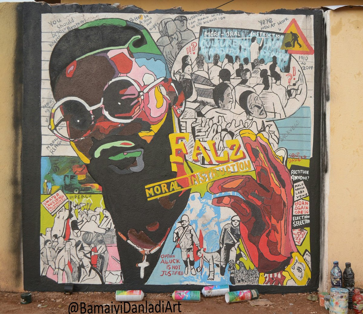 Happy Birthday @falzthebahdguy Pls Help Me Retweet So He Can See This Street Art... Bop Daddy King Falz #Graffiti #Mural #BlackTuesdayNigeria #veeiye #laycon1monthwinverssary #Desmond