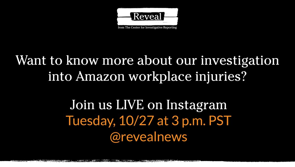 Last year, Prime Day was the biggest shopping event in Amazon's history.   It was also the most dangerous week for injuries at Amazon fulfillment centers.  Join us live on IG today at 3 pm PST as we talk about our Amazon investigation. Have questions for us? Drop them below👇 https://t.co/3XpmqgeMpj