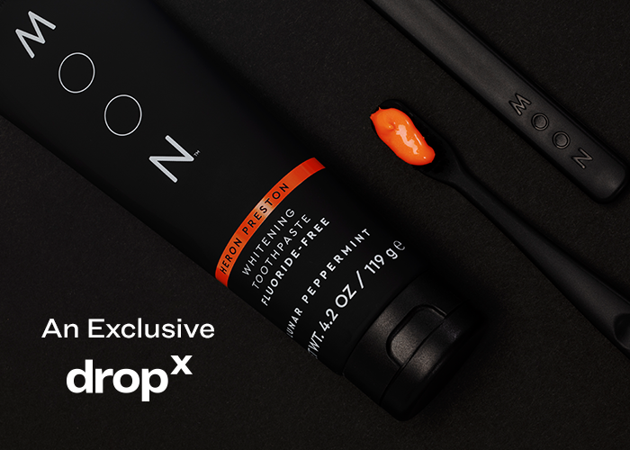 Act fast, it's a DropX 🍊   @MoonOralCare just dropped a super limited collab with @heronpreston, adding a pop of HP's vibrant orange to their whitening toothpaste.   Get it before it's gone: