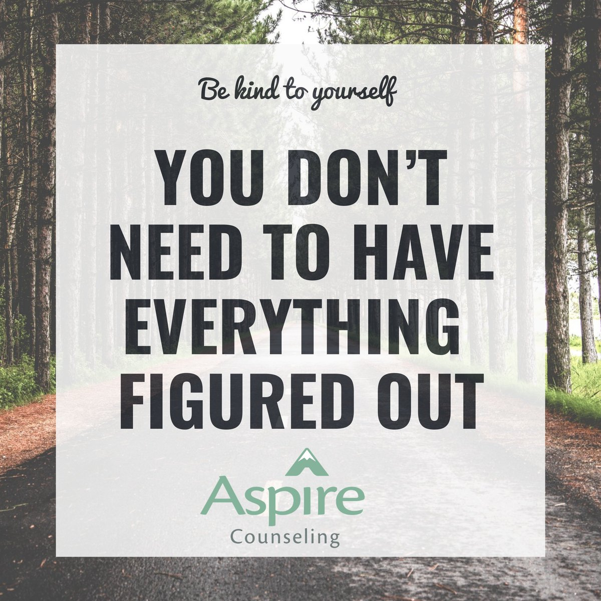 This #tiptuesday we wanted to remind you that you don't have to have everything figured out! Life is unpredictable, so be kind to yourself! #mentalhealthtip #aspirecounselingmo #selflove #bekindtoyourmind #youvegotthis https://t.co/NnoDxCGQrf