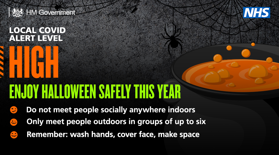 Make sure you stay safe this Halloween. ✅Wash hands ✅Cover face  ✅Make space ❌Don't meet socially indoors https://t.co/zpZc10s27v