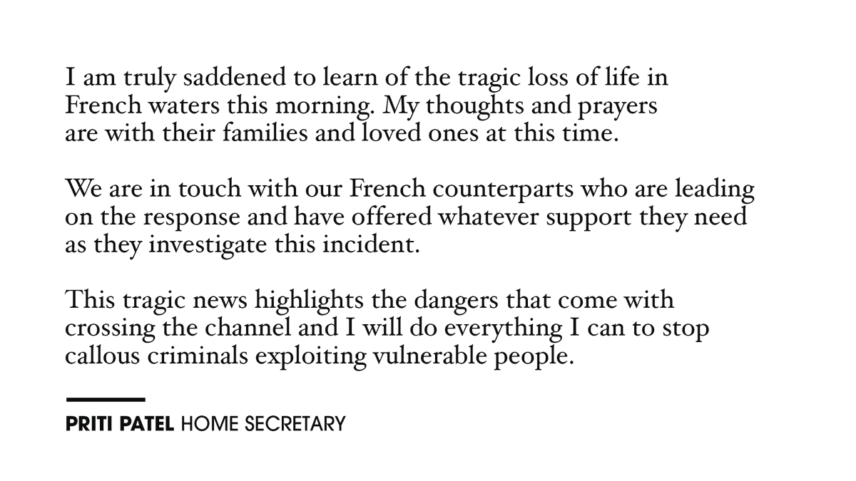My statement on the tragic loss of life in French waters.