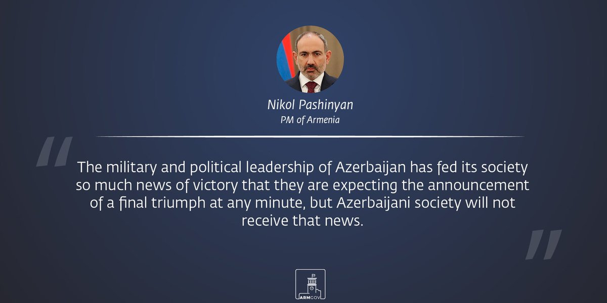 During this war, the attitude of the international community towards the #Artsakh issue changed significantly.  World leaders now acknowledge and accept that Azerbaijan and Turkey are the aggressors. @NikolPashinyan https://t.co/cmUaKd52ve