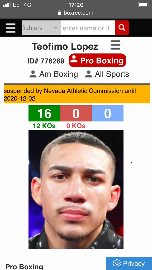 Can anyone help me here? Is there a rule that a fighter is suspended from fighting under NAC for a period after a fight or is Lopez suspended for something else? @BoxRec #LomaLopez #boxing @trboxing https://t.co/o7u7QArpyq