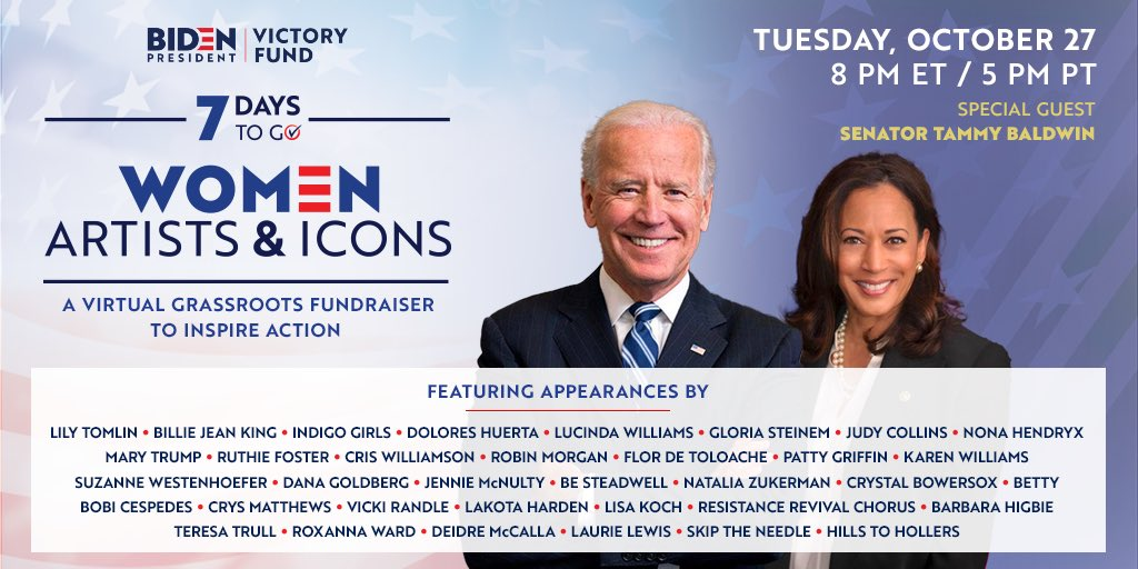 Today marks #7DaysToGo until Nov. 3. Join our Women Artists and Icons event tonight at 8pm EDT for performances & more to support @JoeBiden & @KamalaHarris: facebook.com/events/3537805… #TeamJoe