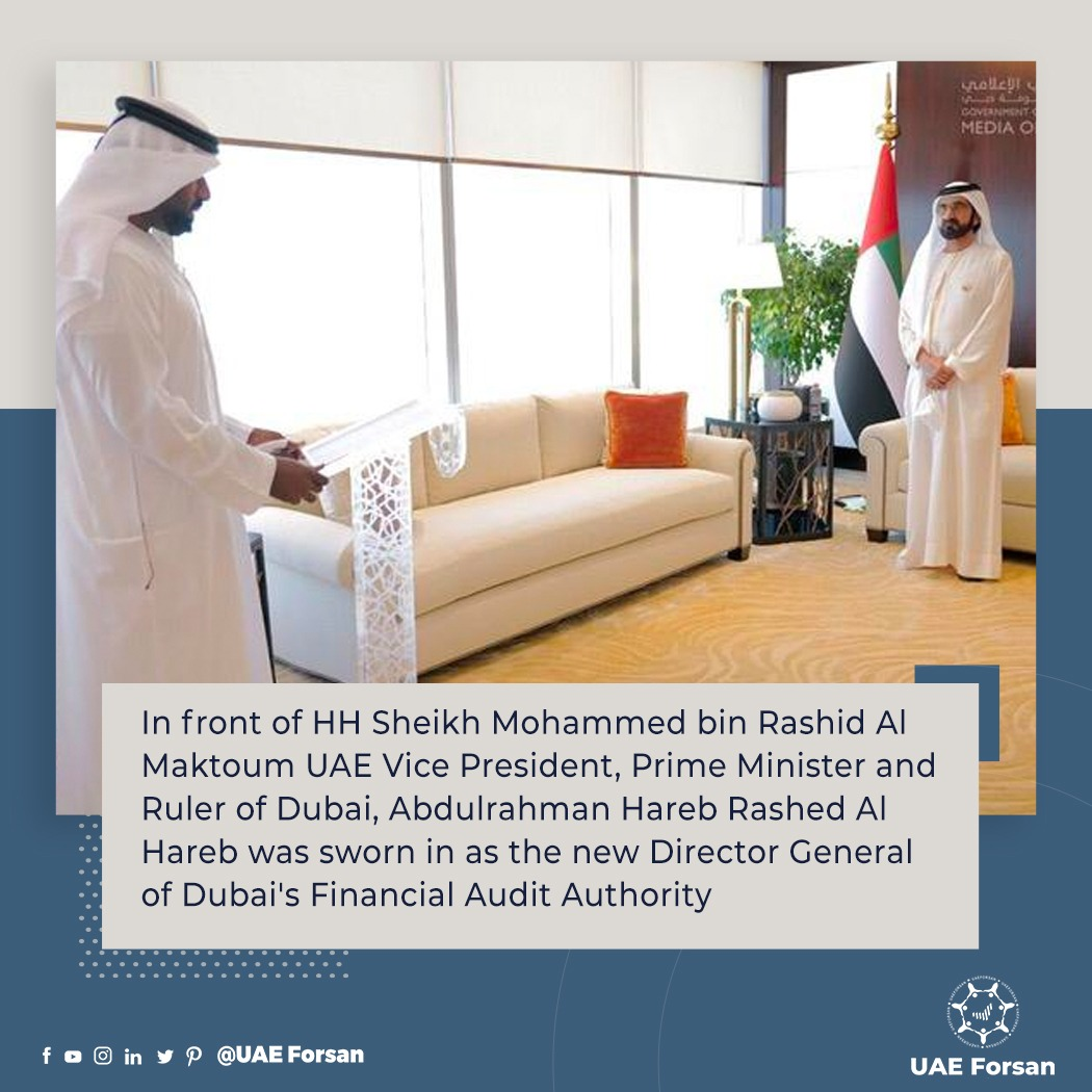 In front of HH Sheikh Mohammed bin Rashid Al Maktoum UAE Vice President, Prime Minister and Ruler of Dubai, Abdulrahman Hareb Rashed Al Hareb was sworn in as the new Director General of Dubai's Financial Audit Authority #Dubai #UAE #Finance  @financial_audit https://t.co/AOK9gBH1x3