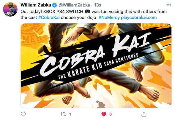 Johnny Lawrence and Daniel LaRusso FINALLY agree on something: the Cobra Kai video game is out today and they both did voice work for it. #CobraKaiGame https://t.co/QQIJeYxQYV