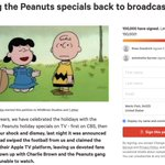 Image for the Tweet beginning: Peanuts Fans Unhappy With Specials