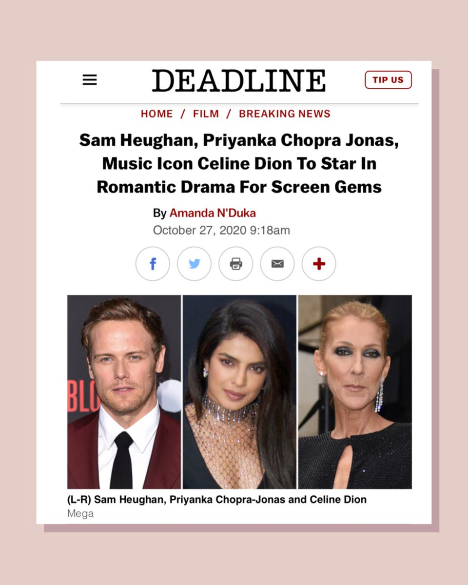 So excited to kick start this amazing movie with such incredible people! Jim Strouse, Sam Heughan, Celine Dion. It's my honour.  Let's gooooo!  @celinedion  @SamHeughan  #JimStrouse @SonyPictures  #ScreenGems