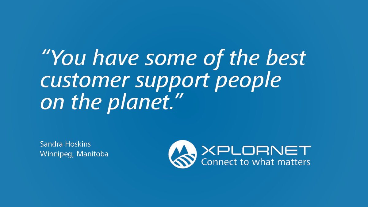 Thank you very much for your testimonial, Sandra. We're happy to hear the service we're providing meets your needs. Thank you again for being an Xplornet customer! https://t.co/QFVJtypg4u