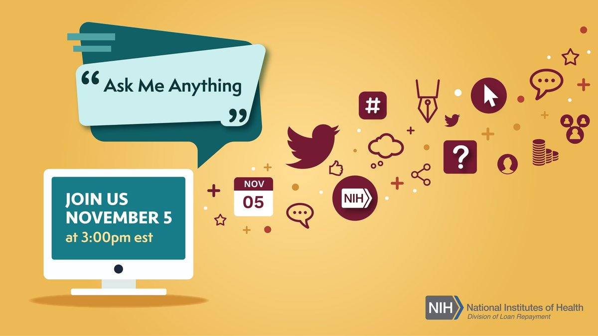 "NEW: Excited to announce that I'm hosting a series of ""Ask Me Anything"" sessions before the application cycle closes and the first will be on November 5th! Bring all of your questions to the table! Register today!  💻😀💰https://t.co/o1HuI06jd1 #NIHLRP #AcademicTwitter https://t.co/L499JHLLTF"