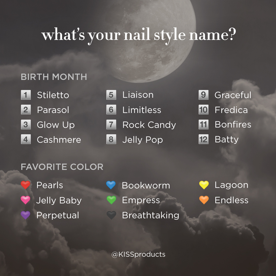 So, what's your nail style name?! At KISS HQ  our names include 'Royal Boss', 'Fizzy Beat' and 'Fredica Empress'.  Share your style with us below!  #KISSnails #LOVEKISSPRODUCTS #funstuff #NameYourNailStyle https://t.co/W7NSh0zKGJ