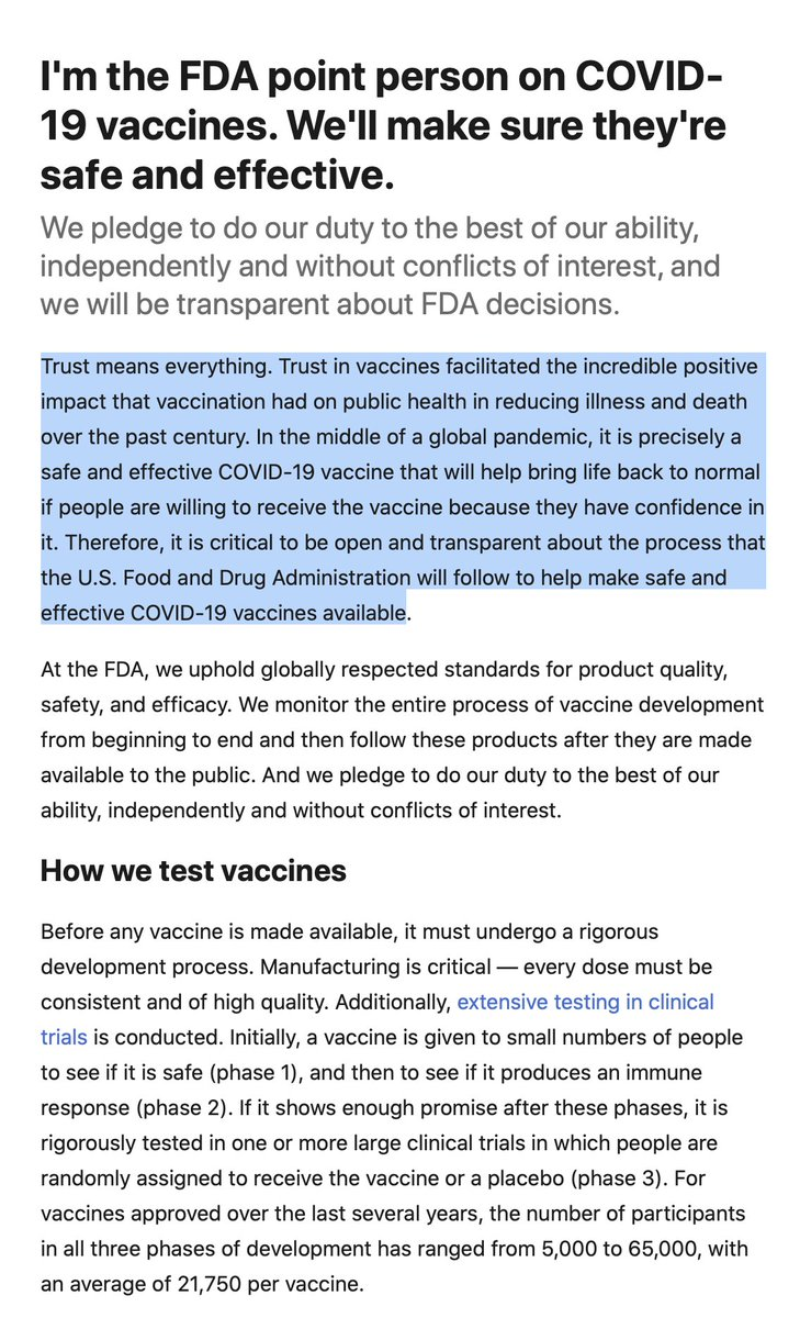 At FDA, Peter Marks, who heads CBER and the vaccine review. His essay @USAToday provides strong reinforcement for this trust https://t.co/680Gm9VgeO via @califf001  /3 https://t.co/VrDmifQ2zH