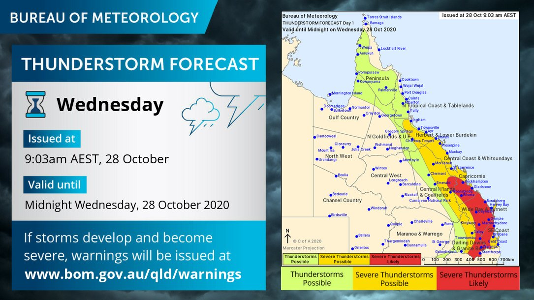 ⛈️ Thunderstorm forecast ⛈️ Severe storms likely again today with isolated supercells possible in #SEQld. May produce destructive winds >125km/h, giant hail & heavy rain/flash flooding.  Severe storms possible for most of eastern #Qld.  Current warnings: https://t.co/orNJBgN1wk https://t.co/8ehaolrZPL
