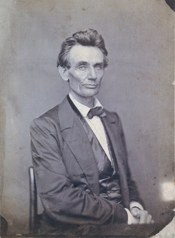 The first photograph of Lincoln after receiving the Republican nomination for President. 1860.