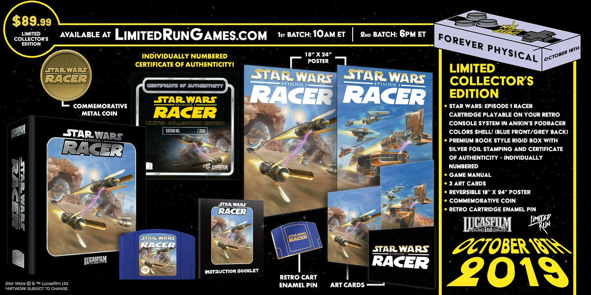 Today for #LimitedRun5, we're talking Star Wars! We've worked with Lucasfilm on physical editions of plenty of Star Wars games, on original consoles & for the current gen.  We're giving away a premium edition of Racer on N64! Follow us and retweet to enter. Winner drawn tomorrow!