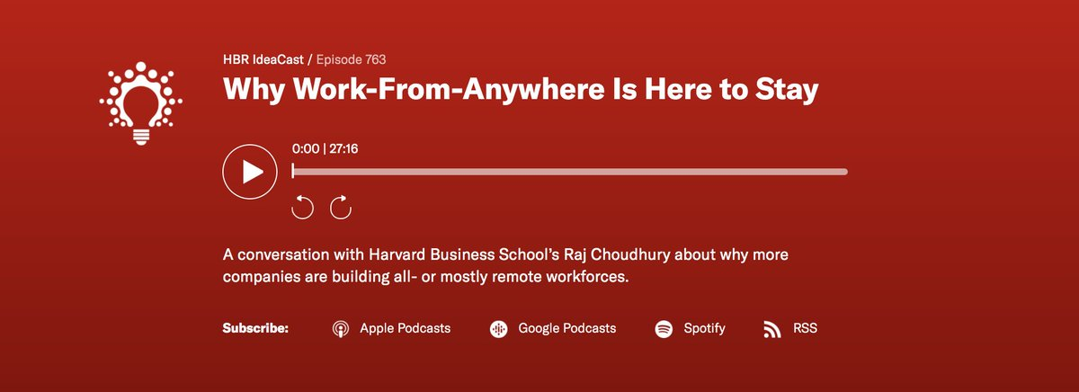 "Listen to the latest episode of @HarvardBiz IdeaCast to hear from @prithwic  about why ""work from anywhere"" is here to stay and how to overcome the challenges of creating and maintaining an all-remote #workforce: https://t.co/idrwIqd8om https://t.co/gcxLvOurZu"