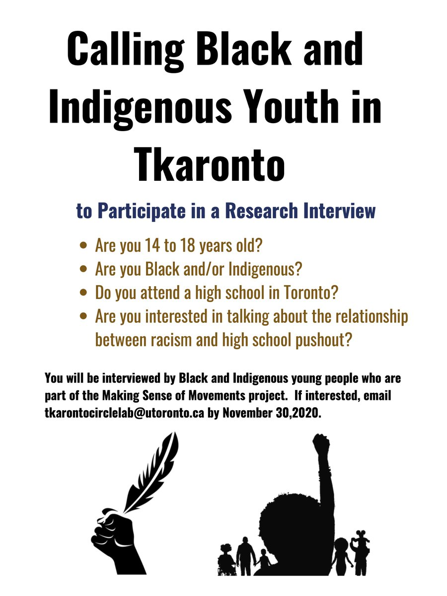 Our youth participatory action research project, Making Sense of Movements, is calling for Black and Indigenous youth aged 14-18 who live + go to school in Tkaronto to be interview participants. Please share! https://t.co/w40Ea4jNx2 https://t.co/sr9kF2NXbm