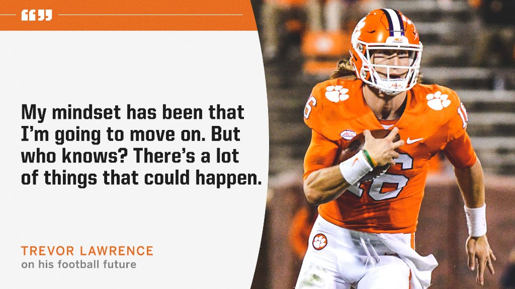 RT @ESPNCFB: Trevor Lawrence is leaving the door open about his football future 👀 https://t.co/pbL9b4Mo6k