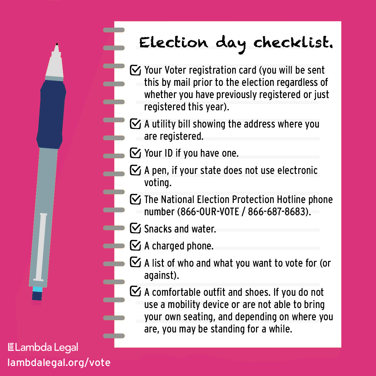 🗣️ ONE WEEK TO ELECTION DAY! If youre going to the polls in person, use this checklist specifically created for #trans, gender-nonconforming, & nonbinary people — & helpful for all #LGBTQ people. More info: ➡️ lambdalegal.org/vote ➡️ lambdalegal.org/votar #Election2020