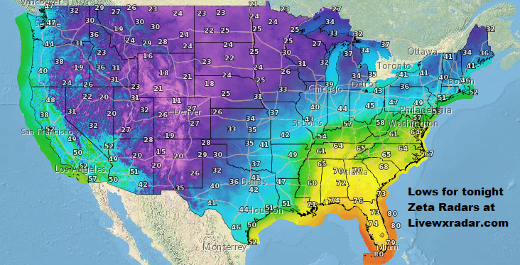 Over night Low temps    Temps and Weather at   https://t.co/HNLPnb8GMF           #wx #weather #cold  #rain #storm #temps  #Freezing #cold #cooling #flooding  #nice  #lows #usa #nws #news #heat   #Wednesday  #Zeta #snow #ice #week  #frozen https://t.co/D8cfb7j3pv