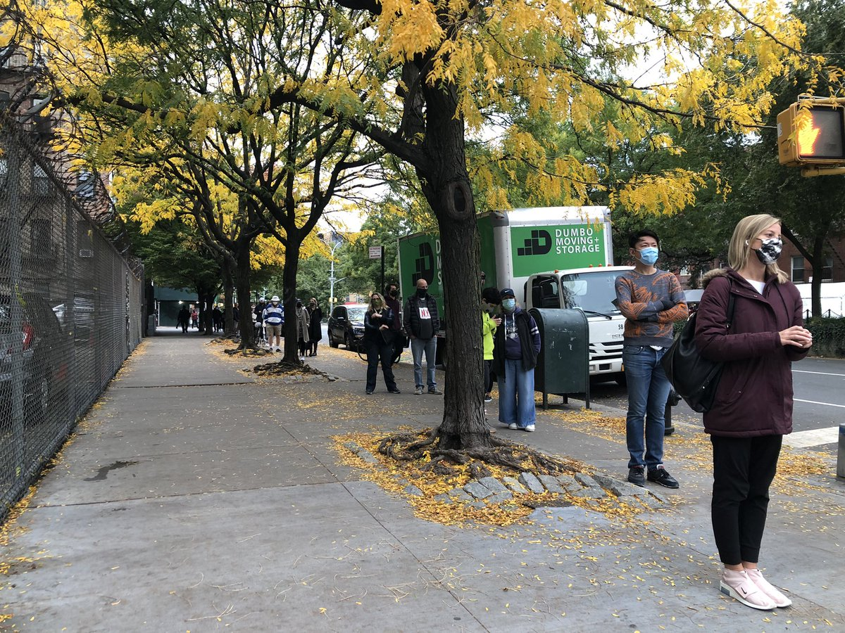 Several hours later line is shorter than it was at midday but still curls around polling site for six blocks (instead of like 10)