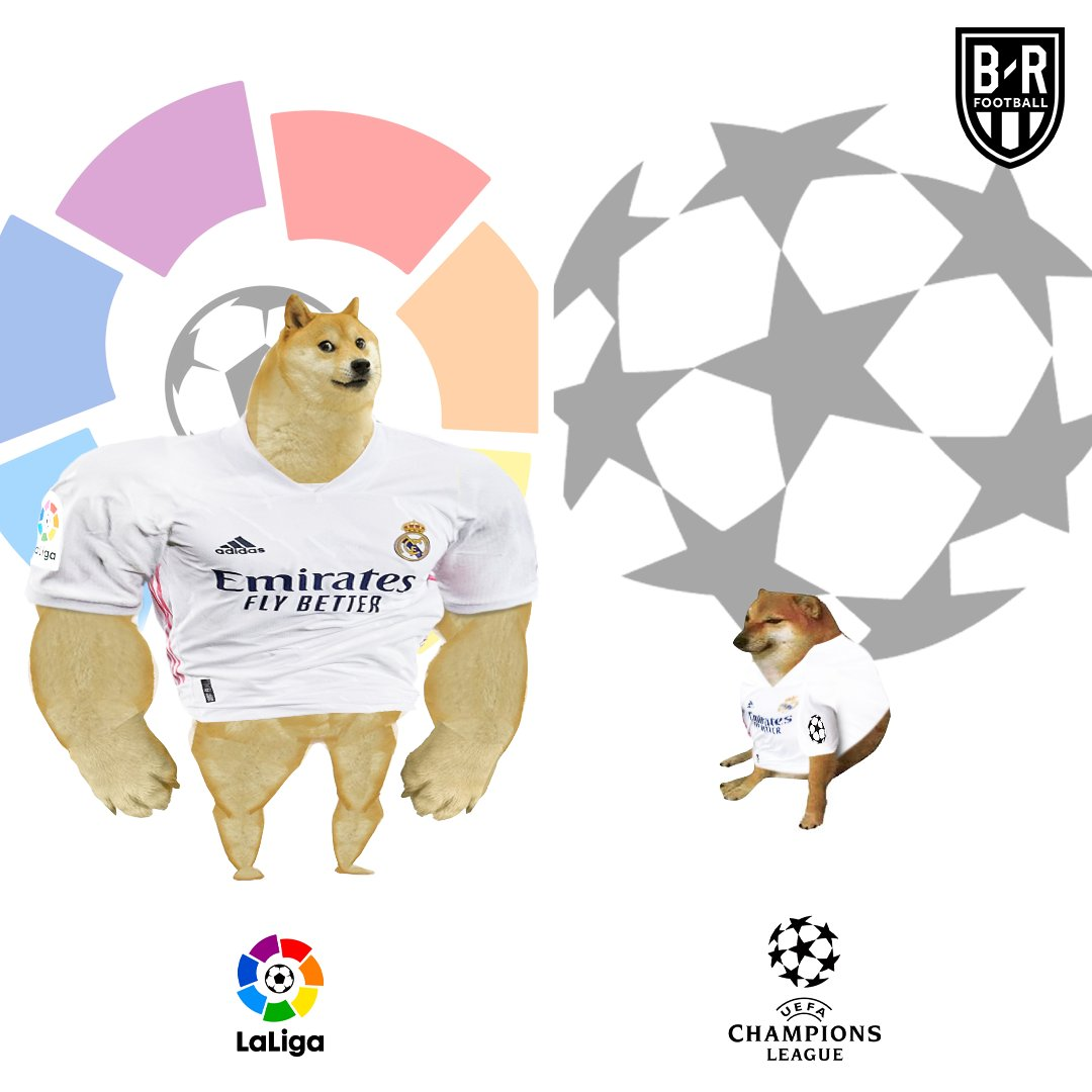 Real Madrid down 2-0 to Gladbach  Real in La Liga vs. Real in the UCL this season https://t.co/J0KMWrSA7b