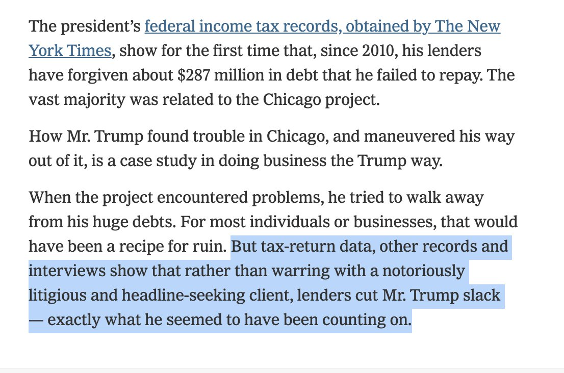Trump's lenders forgave or canceled $287M in debt. The vast majority was related to Trump's Chicago skyscraper, which he built using borrowed money.  When Trump defaulted in 2008, creditors could have tried to seize the property. But they decided it wasn't worth the fight. https://t.co/luUg5q3ruH